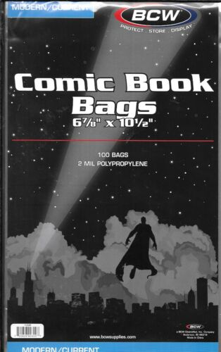 500 MODERN COMIC BOOK SIZE BAGS BCW CURRENT COVERS
