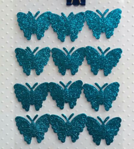12 Self Adhesive Glitter Fabric Butterflies Craft Embellishments - Weddings