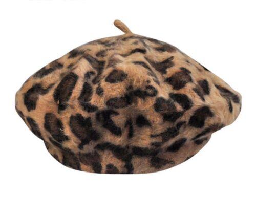 Chaud Laine Hiver Béret Femmes éLéGant Leopard CAPS artiste français Outwear Chapeaux Neuf