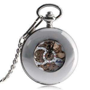 Fashion Silver Automatic Mechanical Smooth Case Pocket Watch Mens Womens Gift