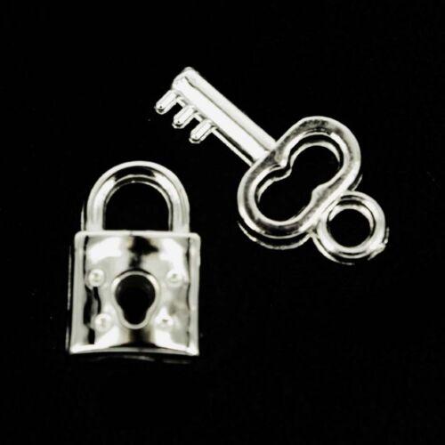Padlock /& key Charms Silver Card making ~Jewellery~Scrapbooking x 10 NP41