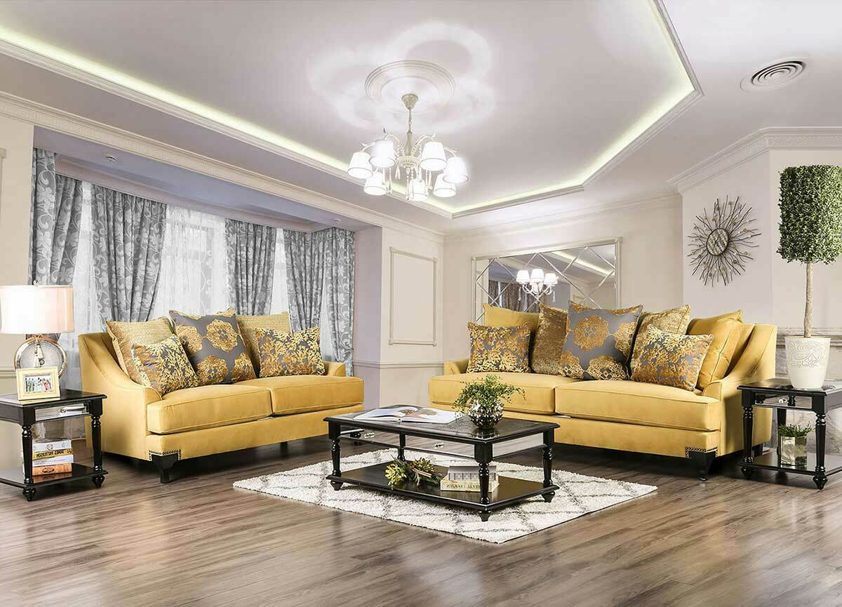 Picture of: 2pc Sofa Set Living Room Furniture Gold Stainless Steel Legs Green Velvet Fabric For Sale Online Ebay