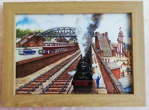 Mumbles Railway with Funfair Swansea - Watercolour Painting - Tony Paultyn