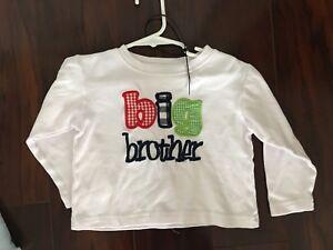 Ada tada m big brother applique t shirt long sleeve white