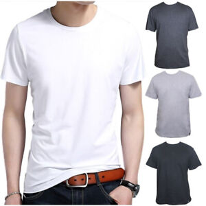 Men-039-s-Cotton-Fashion-Short-Sleeve-Crew-Neck-Tops-Plain-Basic-T-Shirt-Blank-Tee