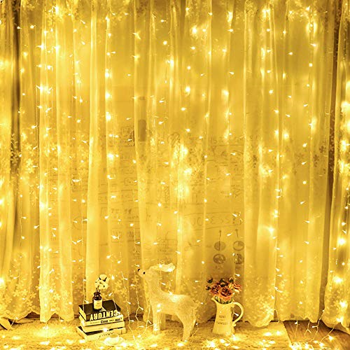 OxyLED Window Curtain Fairy String Lights,306 LED Curtain Lights,8 Modes 3Mx3M