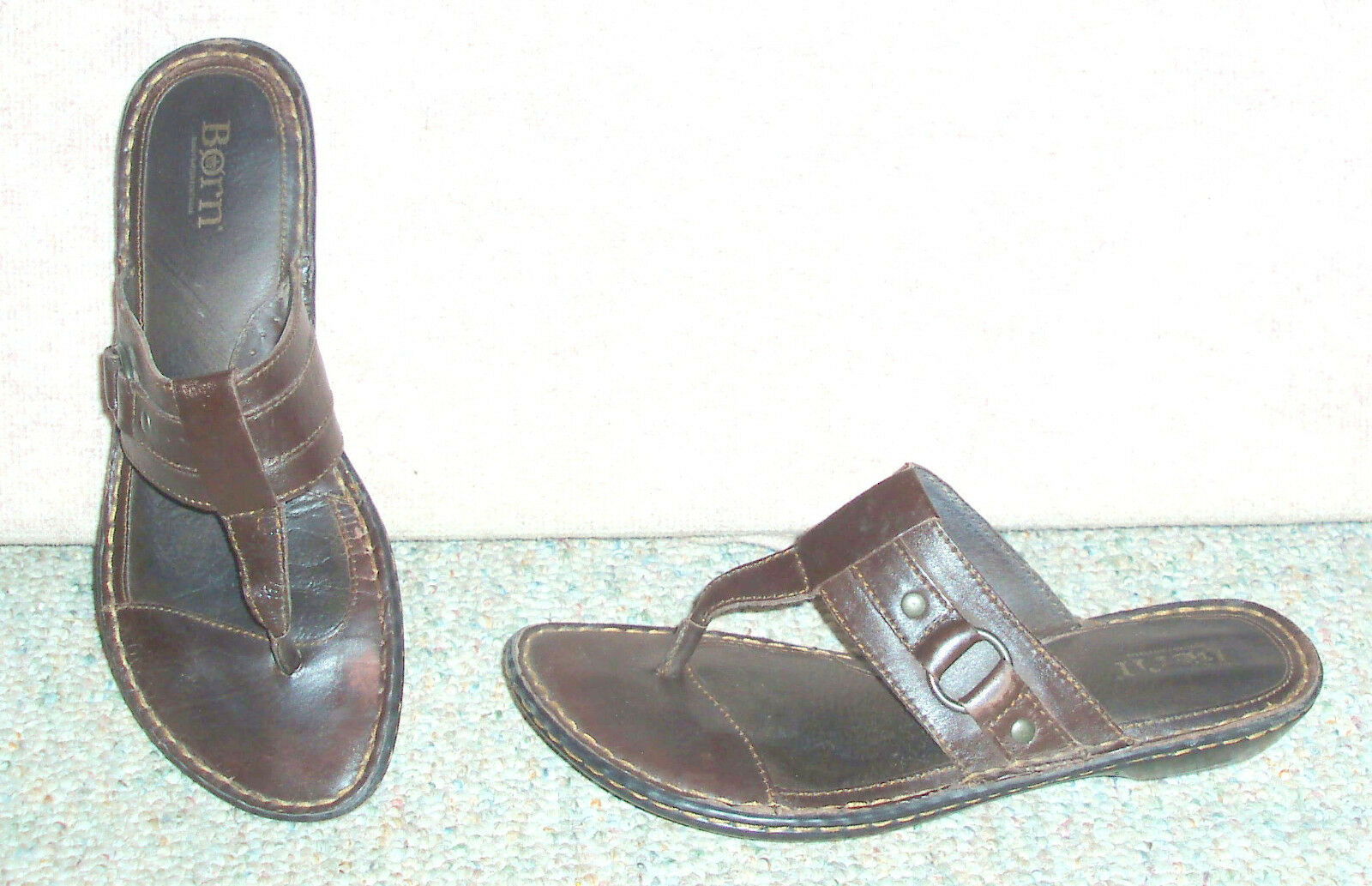 Women's brown leather upper / BORN slip on sandals / upper shoes, sz 9 M 374594