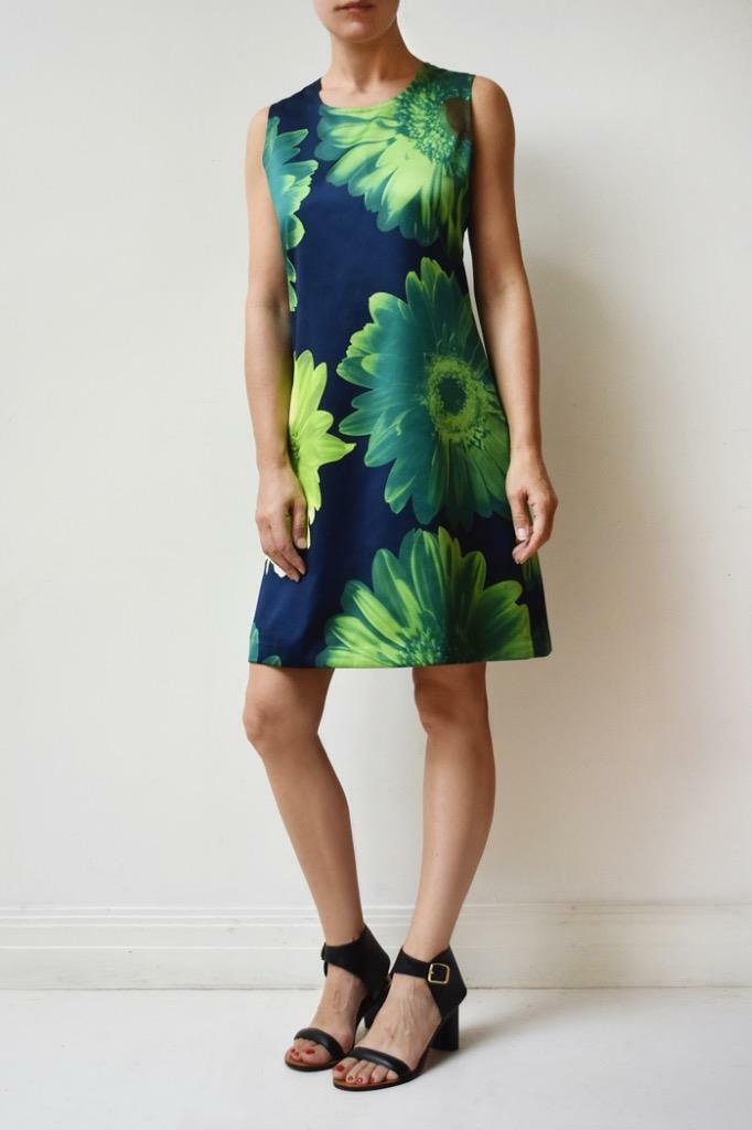 Vintage GIGLI by ROMEO GIGLI Green bluee Floral Print Knee Length Shift Dress 42
