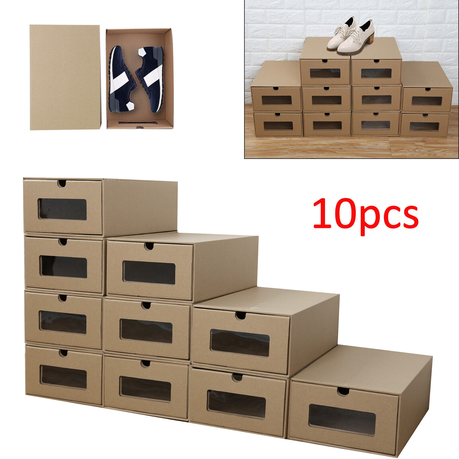 20× Shoe Boxes Organiser Drawer Foldable Stackable Storage Visible ...