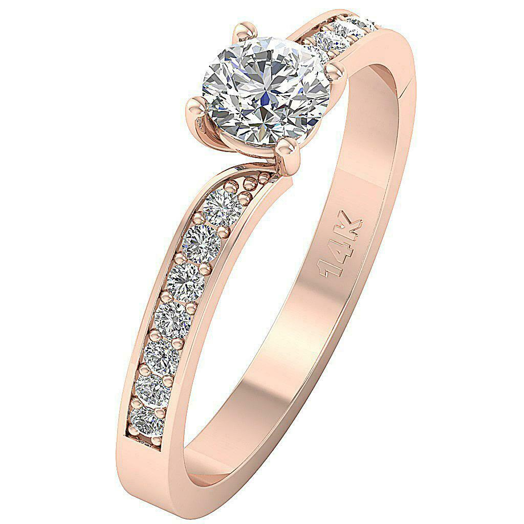 SI1 G Natural Diamond 0.80 Ct Solitaire Anniversary Ring 14K pink gold Appraisal