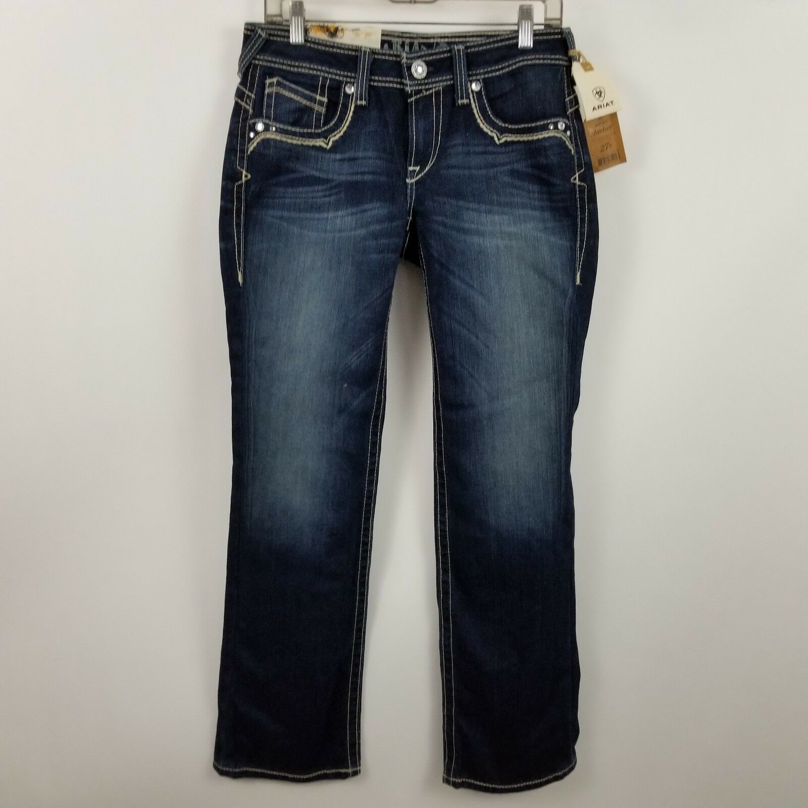 NWT Ariat Amber Relaxed Low Rise Boot Cut Womens Dark Wash Jeans Sz 27 Short 27S
