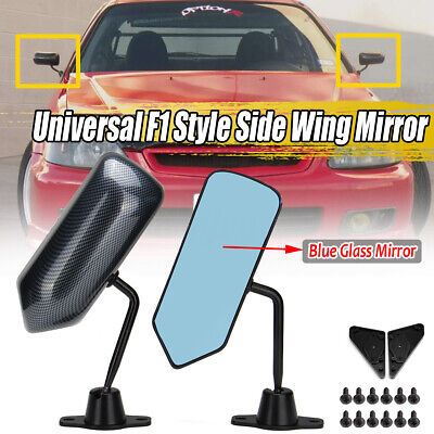 Pair Universal F1 Style Carbon Fiber Look Side Mirrors Bracket Cafe Racer  NEW