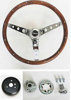 "New 1967 Camaro Grant Wood Steering Wheel Camaro emblem walnut 15/"""
