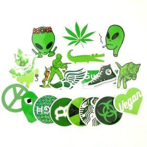 Green-Weed-Pot-Leaf-Stoner-420-Sticker-Bomb-Lot-PVC-Vinyl-Decal-Pack-20-pc