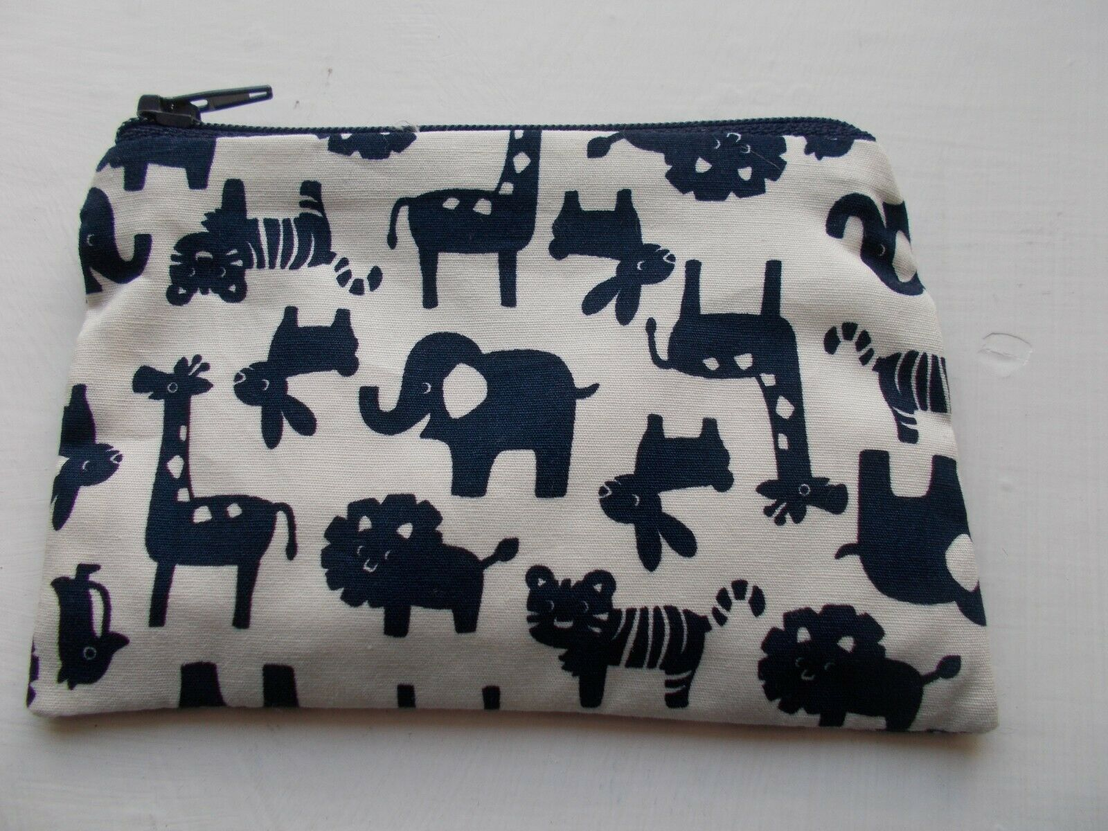Handmade Zippy Cotton Coin Purse - ANIMALS in navy on white - approx 13x8/9cm