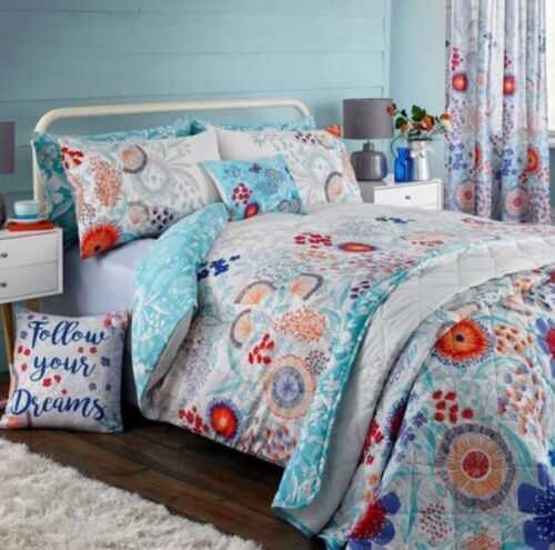 New Dream /& Drapes Claudine Teal Quilted  Single Duvet Set Floral