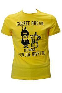 outlet store e07f4 4a61b Dettagli su T.shirt da uomo gialla Joe Rivetto manica corta girocollo  cotone casual moda