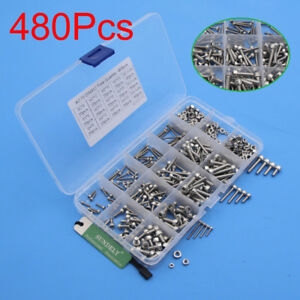 480pcs M2 M3 M4 Metric Hex Socket Head Cap Screw Bolts Nuts Assorted Box Kit Set 714131844548