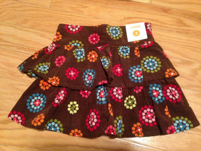 NWT Gymboree Winter Cheer Corduroy Tiered Flower Polka Dot Skirt 3 3T So Cute!