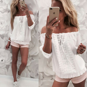 4fca0a6f48b575 Image is loading Womens-Off-Shoulder-Gypsy-Bardot-Top-Lace-Up-