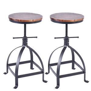 Vintage Bar Stools Set Of 2 Counter Height Adjusbale Chairs 25