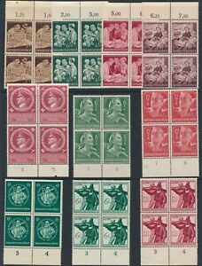 Lot-Stamp-Germany-Blocks-WWWII-3rd-Reich-Welfare-AH-RAD-Hitler-Militia-MNH