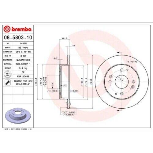2 disque de frein Brembo 08.5803.10 Convient pour Honda Acura