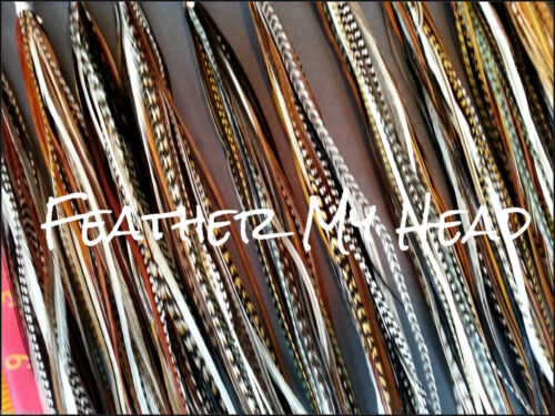 200 FEATHER HAIR EXTENSIONS  DREAM CATCHER NATURAL LONG  WHITING GRIZZLY SADDLE