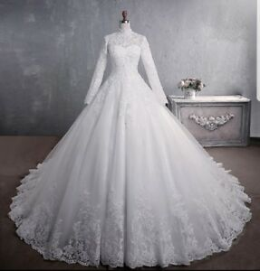 Uk White Ivory Long Sleeve Lace A Line Muslim Wedding Dress Ball Gown Size 6 22 Ebay