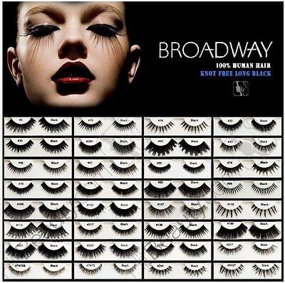 1Pc Broadway Eyes 100% Human Hair Black False Strip Eyelashes