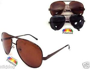 Large-Polarized-Aviator-Sunglasses-Brown-Black-or-Brushed-Silver-Metal-Frame