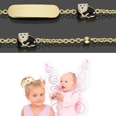 Diplomatisch Baby Taufe Armband Mit Bunten Eisbär Echt Gold 333 Mit Gravur Von Name Und Datum