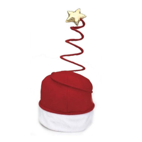 Festive Red Felt Springy Coiled SANTA HAT /& STAR christmas holiday party parade