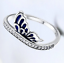 Argent Sterling 925 Aile de Papillon Design Demi-Eternity Bague Courbe Diamant Band