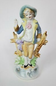 """Vintage Porcelain Figurine Bisque Woman with Hat Leaning on Fence Ceramic 10"""""""