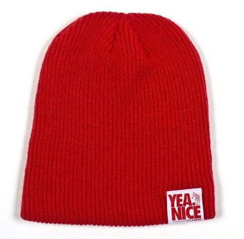 Yea Nice The Yearly Beanie Red Acrylic Cali Desinged Skully Cap Winter Hat NWT