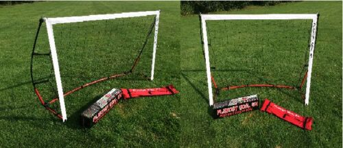 2 PACK 6 x 4 Flexnet Portable Soccer Goal Quik Set Up & Take Down 2 NETS