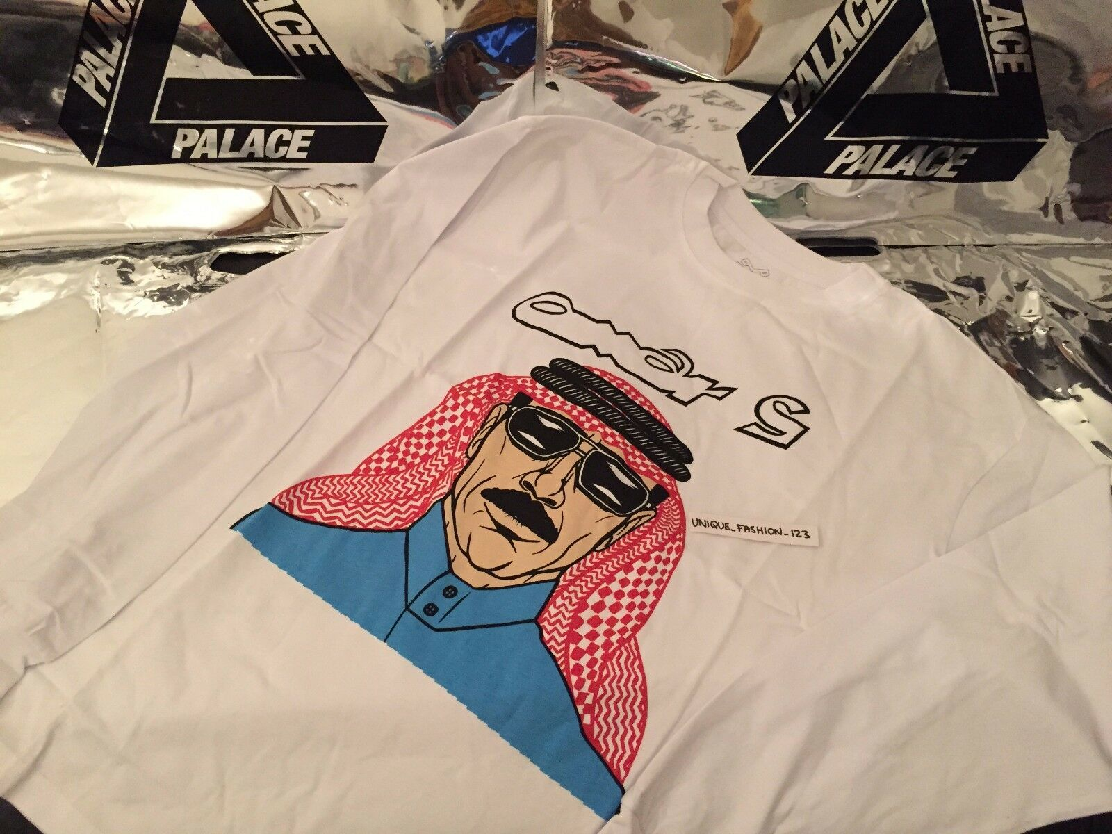 Palace Skateboards Ss16 Medium Omar S White Tri Ferg Ls Long Sleeve Tee M Arab