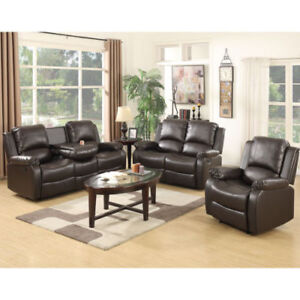 Mecor 3+2+1 Seater Leather Recliner Sofa Suite Living Room Brown for ...
