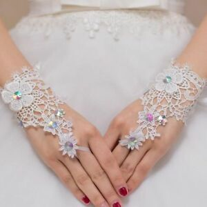 Image Is Loading Rhinestone Glove Ivory Bride Fingerless Lace Wedding Gloves