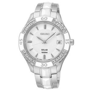 Seiko SNE881 SNE881P9 Ladies Ceramic Diamond Solar Watch NEW WR100m RRP $975.00