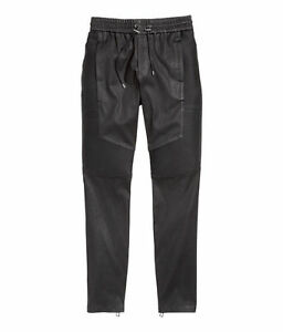 BNWT-BALMAIN-x-H-amp-M-Mens-Black-Quilted-Sections-Leather-Joggers-Pants-Trousers-M