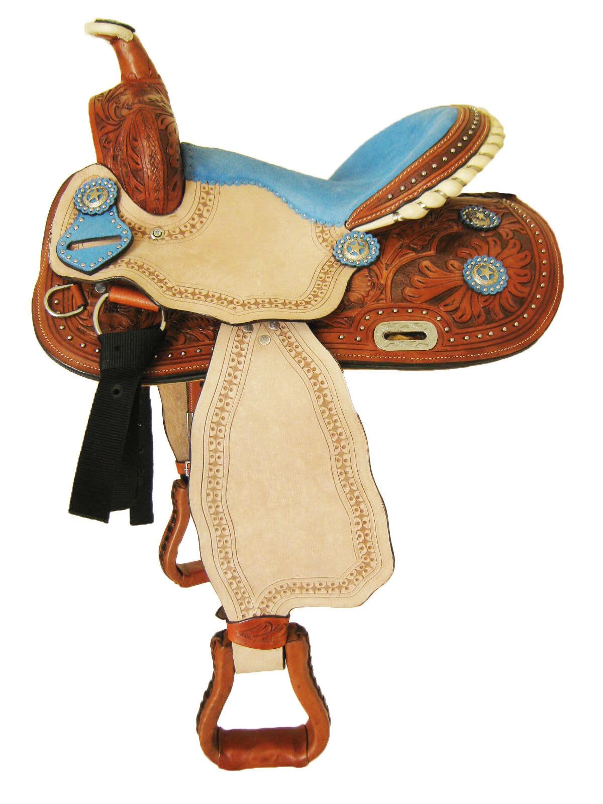 Thsl  Juego de silla de montar de cuero occidental Pony barril tan-Azul Seat 13  (WLP_1119)
