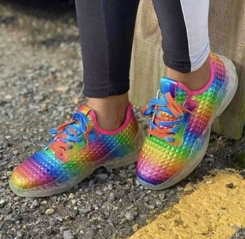 ❤️ Womens shoes Rainbow Lace Up Sneakers Gym Sports Running Trainers Casual Shoe