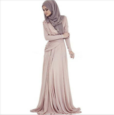 Domple Womens Muslim Plus Size Gown Long Sleeve Arab Flare Lace Dress