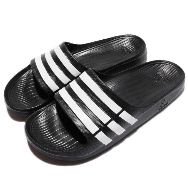 online retailer 4befc e8531 adidas Duramo Slide Black White Mens Sport Slippers Slip on Shoes Sandals  G15890