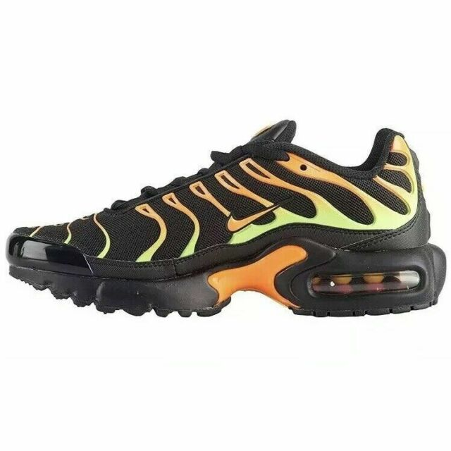 buy online b4b87 ab0f5 Nike Air Max Plus TN Black/Volt-Total Orange (GS) Running Shoes 655020-084  SZ