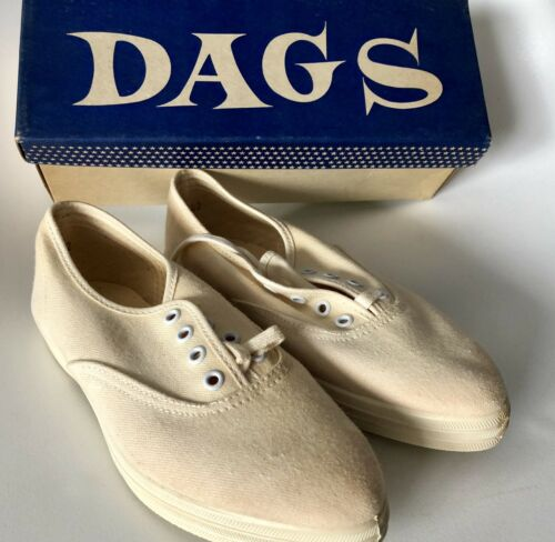 DAGS Vintage Type Keds Pointy Toe White Canvas Lac