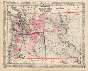 1864 Johnson's Washington, Oregom and Idaho