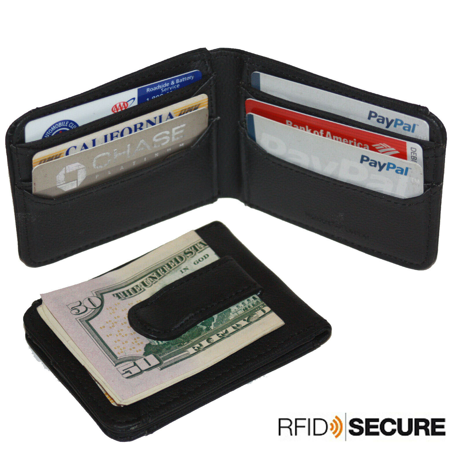 Black RFID Blocking Leather Men's Bifold Money Clip ID Badge Holder Wallet